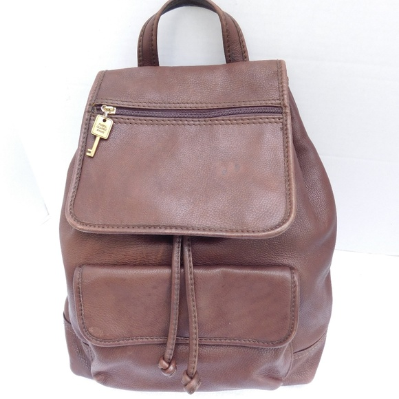 Fossil Handbags - Vintage 90 S FOSSIL Brown Leather Backpack Purse cb4217a89d